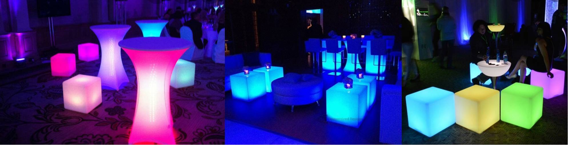 LED glowing patio party furniture in Long Island and New York City