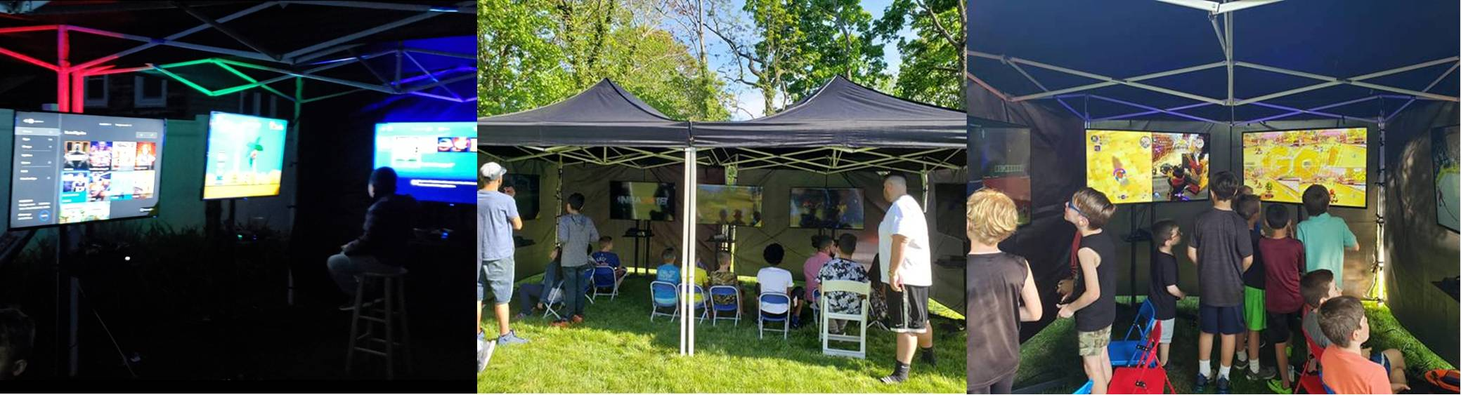 Outdoor mobile video game room party in Long Island and New York City